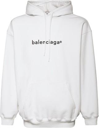 Balenciaga Logo Print Cotton Sweatshirt Hoodie