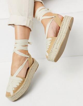 ASOS DESIGN Junior flatform espadrilles with ankle tie in tan/cream