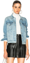 Amo Pop Destroyed Denim Jacket in Blue.