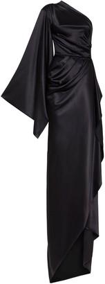 Redemption One Shoulder Silk Blend Satin Long Dress