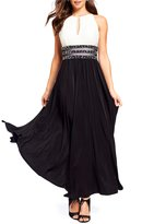 R & M Richards Beaded Waist Colorblock Gown