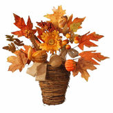 NATIONAL TREE CO National Tree Co 16 Inch Maple And Pumpkin Basket Tabletop Decor