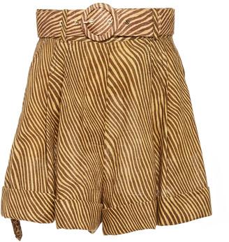 Zimmermann Empire Pleated Zebra-Print Linen Shorts