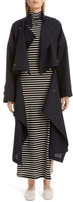 Loewe Drape Double Breasted Wool Coat