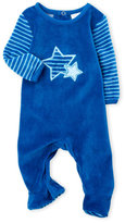 Absorba Newborn/Infant Boys) Embroidered Star Velour Footie