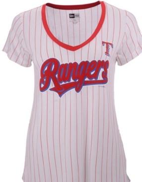 New Era Women's Texas Rangers Pinstripe V-Neck T-Shirt