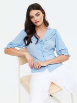 Thumbnail for your product : New Look Alison Frill Collar Button Through Top - Light Blue