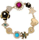 Betsey Johnson Gold-Tone Multi-Charm Link Bracelet