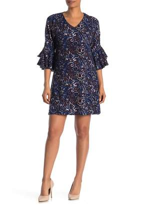 Papillon Paisley Tiered Bell Sleeve Knit Mini Dress