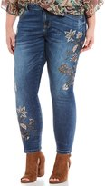 Democracy Plus Seamless Floral Embroidered Fray Hem Ankle Jeans