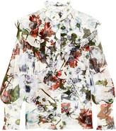 Erdem Kelsey Ruffled Floral-print Silk-voile Blouse - White