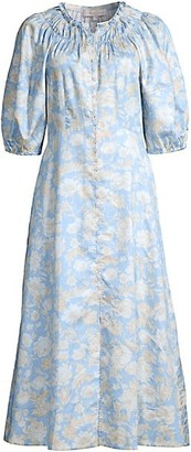 Rebecca Taylor Short-Sleeve Satin Leaf Floral Dress
