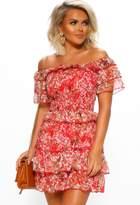 Pink Boutique Californian Cute Red Floral Frill Bardot Mini Dress