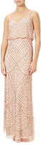 Adrianna Papell Petite Art Deco Beaded Blouson Gown, Blush/Gold