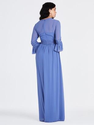 Little Mistress Long Sleeve Midaxi Dress - Hydrangea