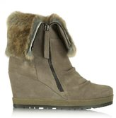 Daniel Grateful Taupe Suede Fur Cuff Wedge Ankle Boot