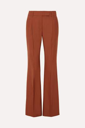Prada Pleated Wool-blend Hopsack Wide-leg Pants - Brown