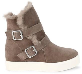 J/Slides Wells Faux Fur-Trim Suede Boots