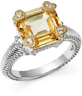 Judith Ripka Sterling Silver Small Candy Ring with White Sapphire and Canary Crystal