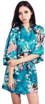 Honeystore Women's Japanese Kimono Silk Short Robe Peacock Nightgown Sleepwear L