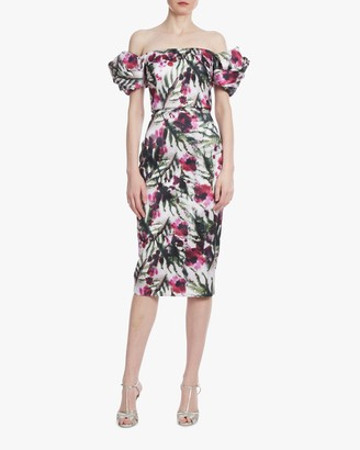 Badgley Mischka Floral Twisted Sleeve Cocktail Dress