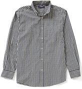 Roundtree & Yorke Trim-Fit Long-Sleeve Gingham Sportshirt