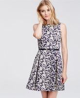 Ann Taylor Petite Contrast Floral Jacquard Flare Dress