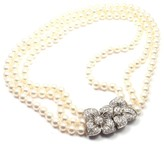 Mikimoto Platinum with Diamond and Cultured Akoya Pearl Triple Stand Necklace