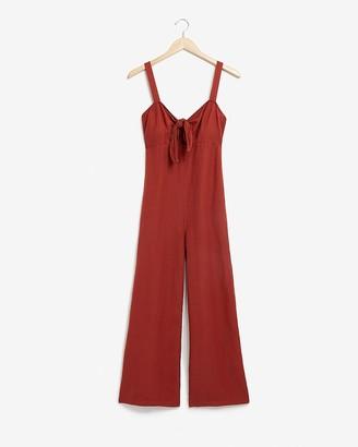 Express Linen-Blend Tie Front Culotte Jumpsuit