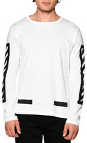 Off-White Brushed Lines Long-Sleeve Graphic T-Shirt, White/Black