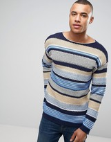 Benetton Crew Neck Knit In Loose Stripe Woven Detail