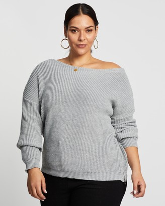 Missguided Curve - Women's Grey Jumpers - Plus Off-Shoulder Zip Jumper - Size 14-16 at The Iconic