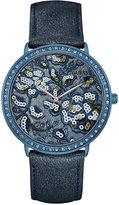 GUESS Women's Wildflower Blue Leather Strap Watch 43mm U0820L2