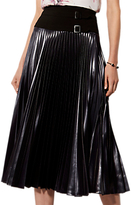 Karen Millen Metallic Drama Pleated Midi Skirt, Dark Charcoal