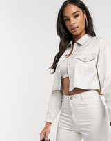 Asos Design DESIGN satin cropped worker jacket with raw hem co ord