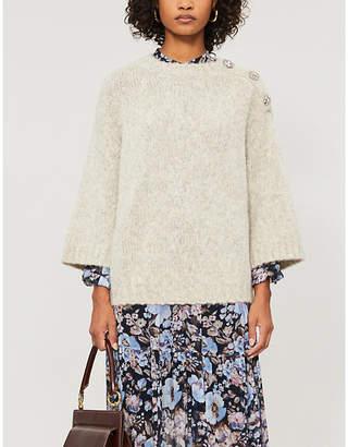 BA&SH Pepite embellished cropped wool-blend jumper