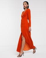 Asos Edition EDITION split side plunge maxi dress in velvet