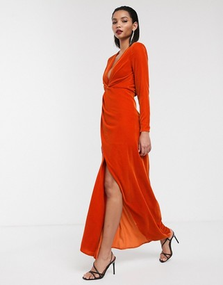 ASOS EDITION split side plunge maxi dress in velvet