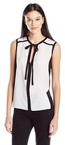 BCBGMAXAZRIA Women's Lenci Woven Top with Tie At The Neck