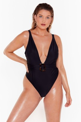 Nasty Gal Womens Deep Breath Plus Plunging Swimsuit - Black - 22