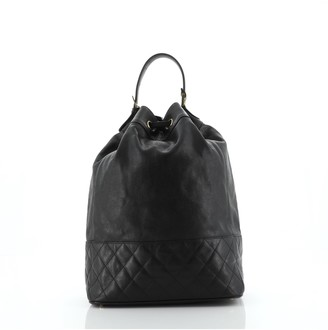 Chanel Drawstring Backpack Quilted Caviar Medium
