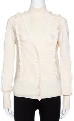 Valentino Cream Wool Knit Lace Trim Sweater & Cardigan Set M