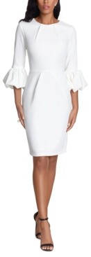 Betsy & Adam Bell-Sleeve Crepe Dress