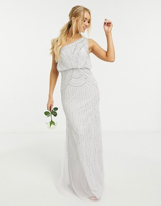 Lipsy Bridesmaid embellished maxi dress in silver