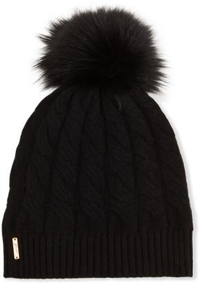 Gorski Cashmere Cable-Knit Beanie with Fur Pompom