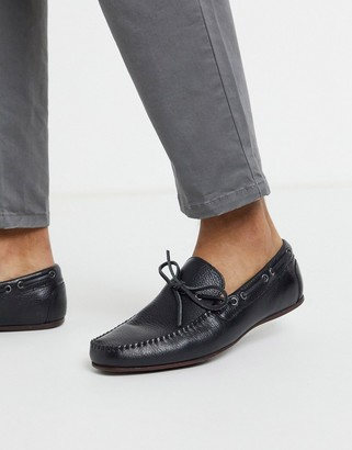 Asos DESIGN driving shoes in black soft leather