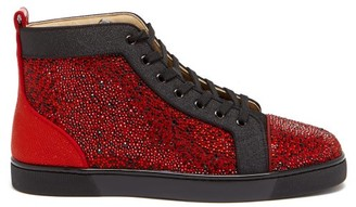 Christian Louboutin Louis Orlato High-top Crystal Leather Trainers - Black Red