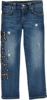 Richmond Jr Slim fit stone-washed blue jeans with rocaille pearls