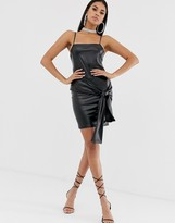 Asos Design DESIGN square neck cross back mini dress in PU with sash detail