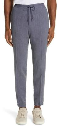 Ermenegildo Zegna Slim Fit Seersucker Linen & Cotton Jogger Dress Pants